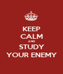 KEEP CALM AND STUDY YOUR ENEMY - Personalised Poster A1 size