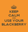 KEEP CALM AND USE YOUR BLACKBERRY - Personalised Poster A1 size