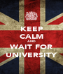 KEEP CALM AND WAIT FOR UNIVERSITY - Personalised Poster A1 size