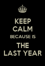 KEEP CALM BECAUSE IS THE LAST YEAR - Personalised Poster A1 size