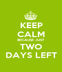 KEEP CALM BECAUSE JUST TWO DAYS LEFT - Personalised Poster A1 size
