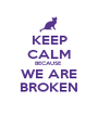 KEEP CALM BECAUSE  WE ARE BROKEN - Personalised Poster A1 size