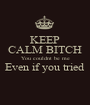 KEEP CALM BITCH You couldnt be me Even if you tried  - Personalised Poster A1 size
