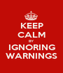 KEEP CALM BY IGNORING WARNINGS - Personalised Poster A1 size