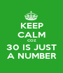 KEEP CALM COZ 30 IS JUST A NUMBER - Personalised Poster A1 size