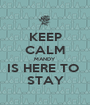 KEEP CALM MANDY IS HERE TO  STAY - Personalised Poster A1 size