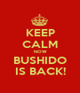 KEEP CALM NOW BUSHIDO IS BACK! - Personalised Poster A1 size