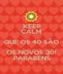 KEEP CALM QUE OS 40 SÃO OS NOVOS 30! PARABÉNS - Personalised Poster A1 size
