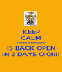 KEEP CALM THE PLAYGROUND IS BACK OPEN IN 3 DAYS OiOiiii - Personalised Poster A1 size