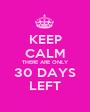 KEEP CALM THERE ARE ONLY 30 DAYS LEFT - Personalised Poster A1 size