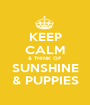 KEEP CALM & THINK OF SUNSHINE & PUPPIES - Personalised Poster A1 size