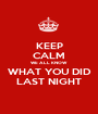 KEEP CALM WE ALL KNOW WHAT YOU DID LAST NIGHT - Personalised Poster A1 size
