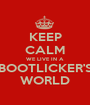 KEEP CALM WE LIVE IN A BOOTLICKER'S WORLD - Personalised Poster A1 size