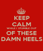 KEEP CALM WHILE I STUMBLE OUT OF THESE DAMN HEELS - Personalised Poster A1 size
