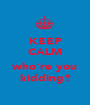 KEEP CALM ... who're you kidding? - Personalised Poster A1 size