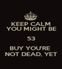 KEEP CALM YOU MIGHT BE 53 BUY YOU'RE  NOT DEAD, YET - Personalised Poster A1 size