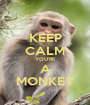 KEEP CALM YOU'RE A MONKEY - Personalised Poster A1 size
