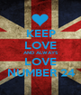 KEEP LOVE AND ALWAYS LOVE NUMBER 24 - Personalised Poster A1 size