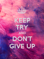 KEEP TRY AND DON'T GIVE UP - Personalised Poster A1 size