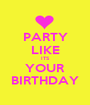 PARTY LIKE ITS YOUR BIRTHDAY - Personalised Poster A1 size