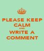 PLEASE KEEP CALM AND WRITE A COMMENT - Personalised Poster A1 size