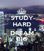 STUDY HARD  DREAM BIG - Personalised Poster A1 size