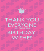 THANK YOU EVERYONE FOR ALL OF THE BIRTHDAY  WISHES - Personalised Poster A1 size