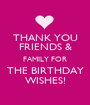 THANK YOU FRIENDS & FAMILY FOR THE BIRTHDAY WISHES! - Personalised Poster A1 size