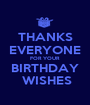 THANKS EVERYONE FOR YOUR BIRTHDAY  WISHES - Personalised Poster A1 size