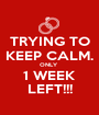 TRYING TO KEEP CALM. ONLY  1 WEEK LEFT!!! - Personalised Poster A1 size