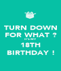 TURN DOWN FOR WHAT ? IT'S MY  18TH BIRTHDAY ! - Personalised Poster A1 size