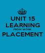 UNIT 15 LEARNING FROM WORK PLACEMENT  - Personalised Poster A1 size