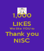 1,000 LIKES We like YOU to Thank you NISC - Personalised Poster A4 size
