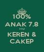100% ANAK 7.8 ITU KEREN & CAKEP - Personalised Poster A4 size