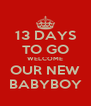 13 DAYS TO GO WELCOME OUR NEW BABYBOY - Personalised Poster A4 size