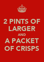 2 PINTS OF LARGER AND A PACKET OF CRISPS - Personalised Poster A4 size