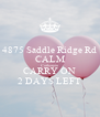 4875 Saddle Ridge Rd CALM Catharpin CARRY ON 2 DAYS LEFT - Personalised Poster A4 size