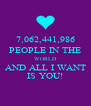7,062,441,986 PEOPLE IN THE WORLD AND ALL I WANT IS YOU! - Personalised Poster A4 size