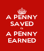 A PENNY SAVED IS A PENNY EARNED - Personalised Poster A4 size