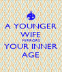 A YOUNGER WIFE MIRRORS YOUR INNER AGE - Personalised Poster A4 size