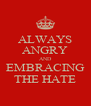 ALWAYS ANGRY AND EMBRACING THE HATE - Personalised Poster A4 size