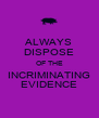 ALWAYS DISPOSE OF THE INCRIMINATING EVIDENCE - Personalised Poster A4 size