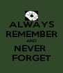ALWAYS REMEMBER AND NEVER  FORGET - Personalised Poster A4 size