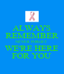 ALWAYS REMEMBER NEVER FORGET WE'RE HERE FOR YOU - Personalised Poster A4 size