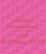always remember time stood  still 3rd May 2014 - Personalised Poster A4 size