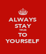 ALWAYS STAY TRUE TO YOURSELF - Personalised Poster A4 size