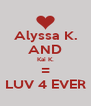 Alyssa K. AND Kai K. = LUV 4 EVER - Personalised Poster A4 size