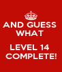 AND GUESS  WHAT   LEVEL 14  COMPLETE! - Personalised Poster A4 size