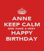 ANNE KEEP CALM AND HAVE A VERY HAPPY BIRTHDAY - Personalised Poster A4 size