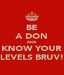 BE A DON AND KNOW YOUR LEVELS BRUV! - Personalised Poster A4 size